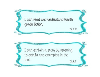 """Math AND ELA """"I Can"""" Statements **ALL STANDARDS** 4th grade"""