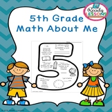 Free First Day of School Activity 5th Grade Math About Me All About Me Worksheet