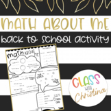 Math About Me - Back to School Activity