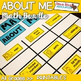 Math About Me Back to School Bundle: Math Name Tags & Math