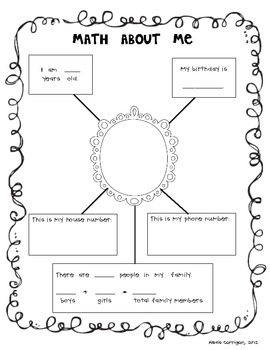 Math About Me - Math Night or Back to School FREEBIE