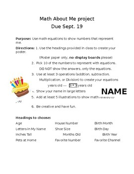Math About Me Poster Rubric