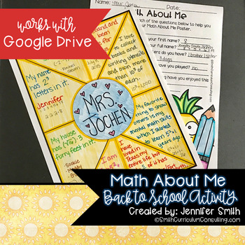 Math About Me Project for Back to School includes Google Drive and Editable