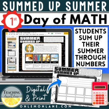 Math About Me Upper Grades | Activity Poster Back to School | Math all About Me