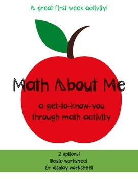 Math About Me - a back to school activity