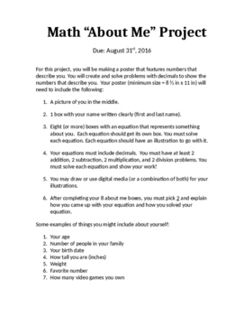 Math About Me project 6.NS.3