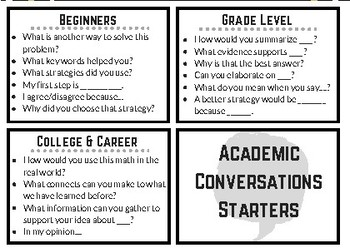 Math Academic Conversations Cards