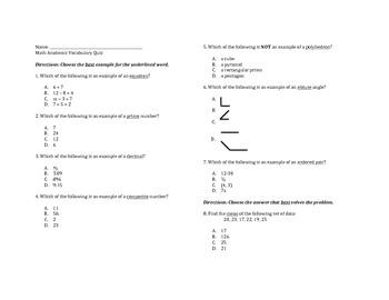 Math Academic Vocab TCAP Review