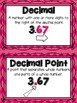 Math Academic Vocabulary: Common Core Decimal Word Wall and Activities