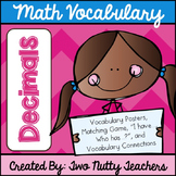 Math Academic Vocabulary: Common Core Decimal Word Wall an
