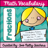 Math Academic Vocabulary: Common Core Fractions Word Wall