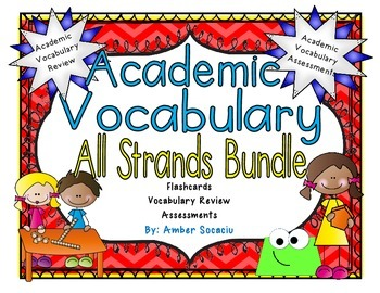 Math Academic Vocabulary Workbook and Assessments Bundle for 3rd Grade