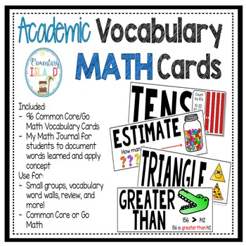 Math Academic Vocabulary Word Wall Cards and Journal