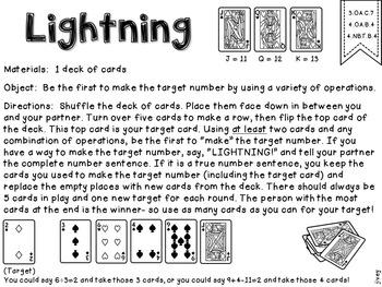 Math Partner Card Games - 3rd and 4th Grade