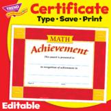 Math Achievement Award Certificate | Editable | Print & Digital