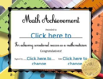 Math Achievement Certificate