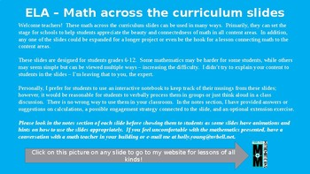 Math Across the Curriculum Slides for ELA