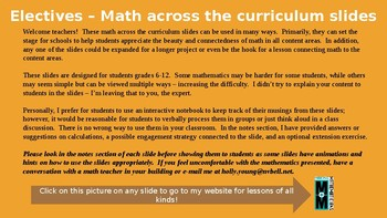 Math Across the Curriculum Slides for Elective Areas
