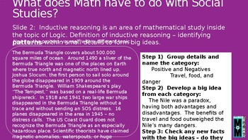 Math Across the Curriculum Slides for Social Studies