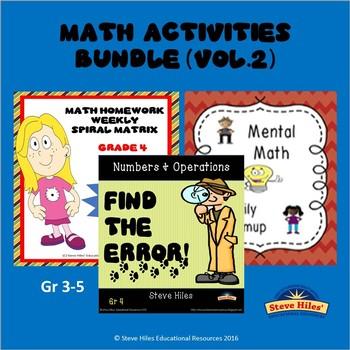 Math Activities Bundle (Vol.2) Grades: 3-5
