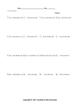 Math Activities: Evaluating Expressions Practice Worksheets