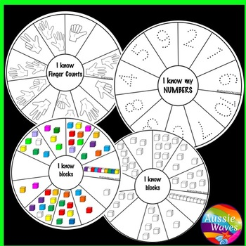NEW Kinder Math Center Activity Idea NUMBER WHEELS Tasks Counting Numbers 0-10
