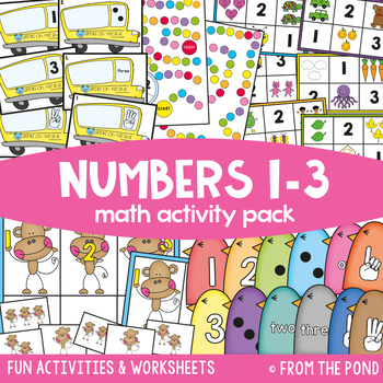 Numbers 1 to 3 - Math Centers & Activities Pack 1