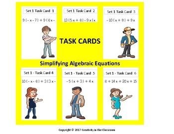 240 Task Cards - Algebra 1 - Evaluating Expressions