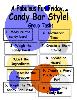 Math Activities and Writing Activities using Candy Bars!  Super fun for the kids