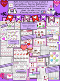 Valentine's Day MATH ONLY activities & Presidents' Day Money count K-3 (ENGLISH)