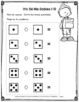 Math Activities for Interactive Notebooks (Grade 1, Spanish)
