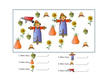 Math Activities for Visual Learners Numbers 1-10  Fall Theme