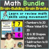 Math Activities with Brain Breaks, Movement Bundle Digital
