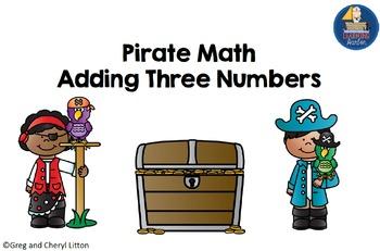 Math Activity Adding 3 Numbers - Pirate Theme