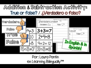 Math Activity: Addition and Subtraction True or False