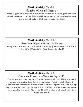 Math Activity Cards