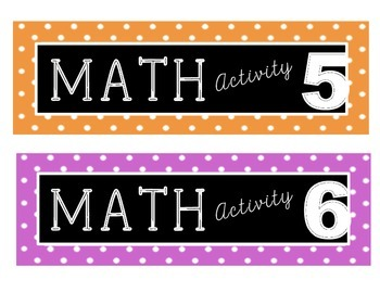 Math Activity Center Labels