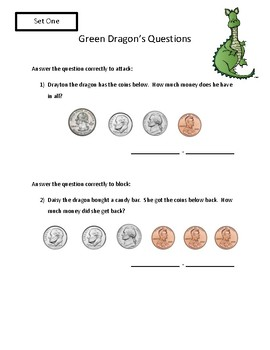Math Activity Counting Money Review Game (Dragon's Duel)