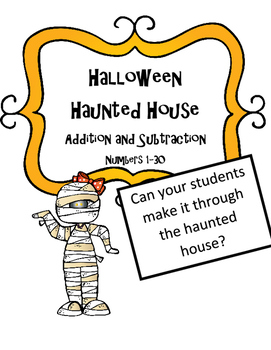 Halloween Math Activity Word Problems Haunted House (#1-30)