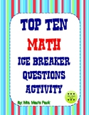 Math Activity Ice Breaker - Top Ten Get to Know You Math Q