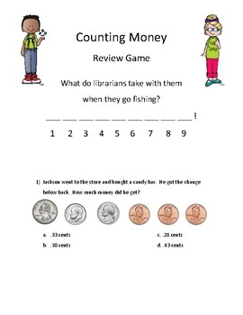 Math Activity Review Game Counting Money- Mystery Joke