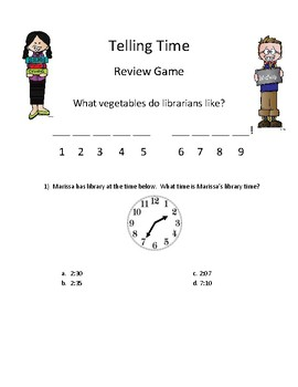Math Activity Telling Time Review Game (to the 5 minute) Mystery Joke