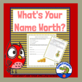 Back to School Math and Spelling Activity - What Your Name is Worth