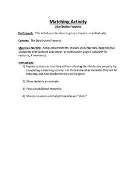 Math Activity for Distributive Property - Matching activity/game