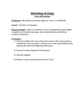 Math Activity for Order of Operations - Activity/Game