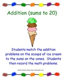 """""""Math Activity with Sums up to 20"""" -For Individuals or Centers"""
