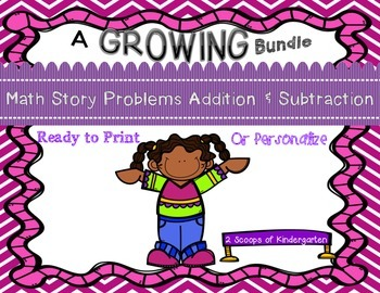 Add & Subtract Story Problems  Print & Go/Personalize
