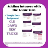 Math: Adding Integers with the Same Sign Google Docs Assignment