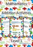 Math Addition Activities Worksheet for Level 1