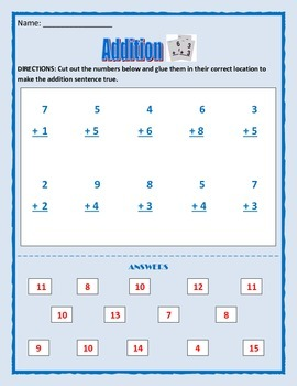 Math: Addition Activity - Cut and Paste answers - 4 pages of basic addition. .